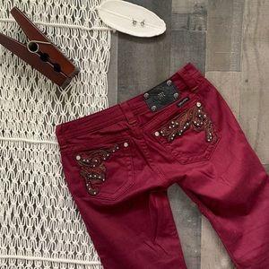 Miss Me Merlot / Burgundy Embellished Skinny Jeans